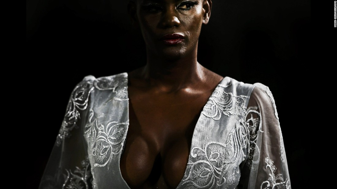 A model wears a creation by Angolan designer Nadir Tati during a fashion show in Lisbon, Portugal, on Sunday, March 12.