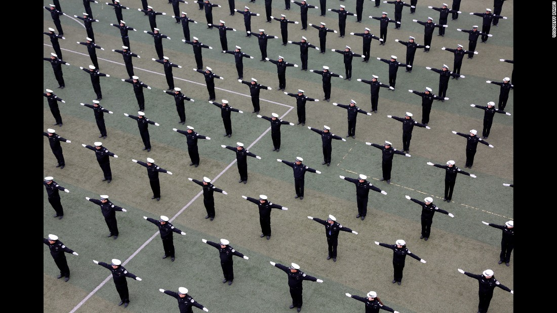 Traffic officers train in Jinan, China, on Sunday, March 12.