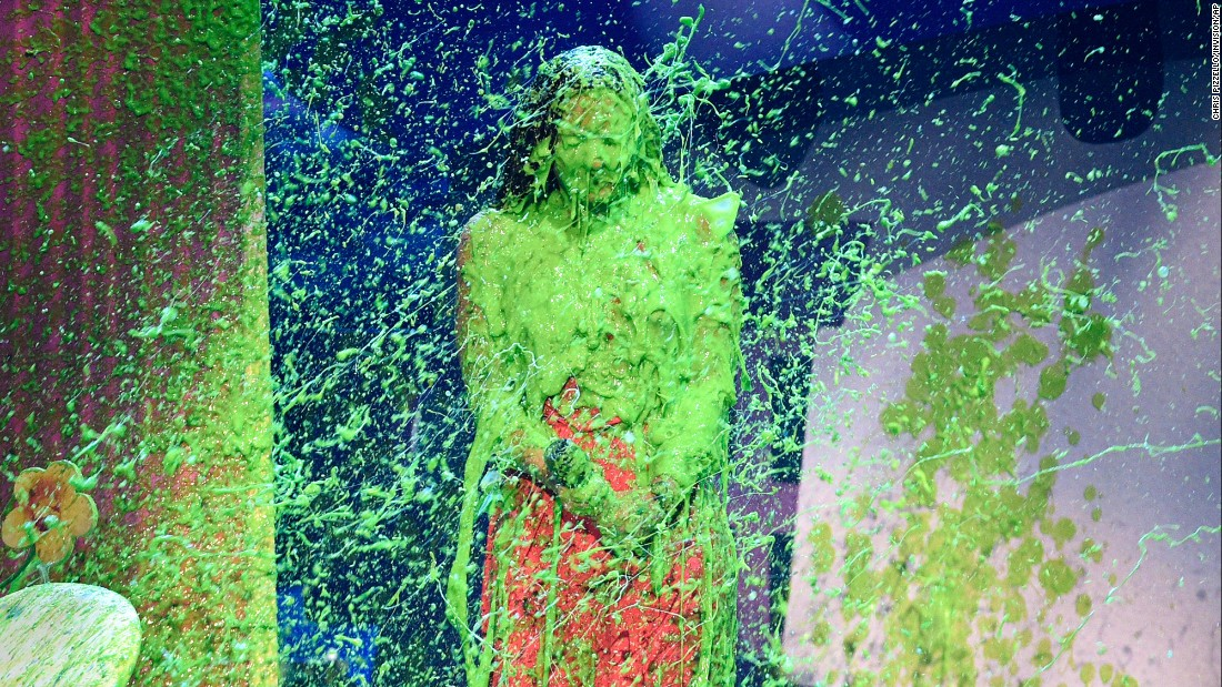 Pop star Demi Lovato gets slimed at the Nickelodeon Kids' Choice Awards on Saturday, March 11.