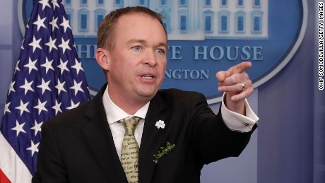 Office of Management and Budget Director Mick Mulvaney takes questions from reporters during a briefing in the Brady Press Briefing Room at the White House March 16, 2017 in Washington, DC.