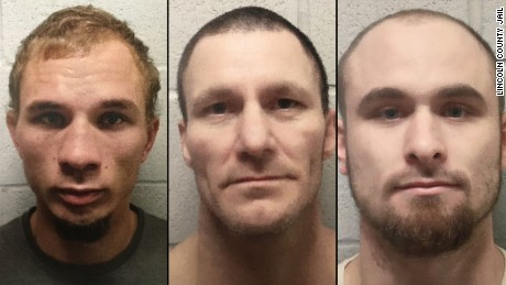 Brian Allen Moody (age 23), Sonny Baker (age 41), and Mark Dwayne Robbins (age 23) escaped out of the ventilation system of the Lincoln County Jail in Oklahoma around 11pm on March 16.