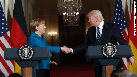 President Donald Trump and German Chancellor Angela Merkel shakes hands during a joint news conference in the East Room of the White House in Washington, Friday, March 17, 2017.