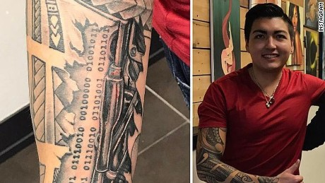 Karim Baratov and a detail of his tattoos from his Instagram account.