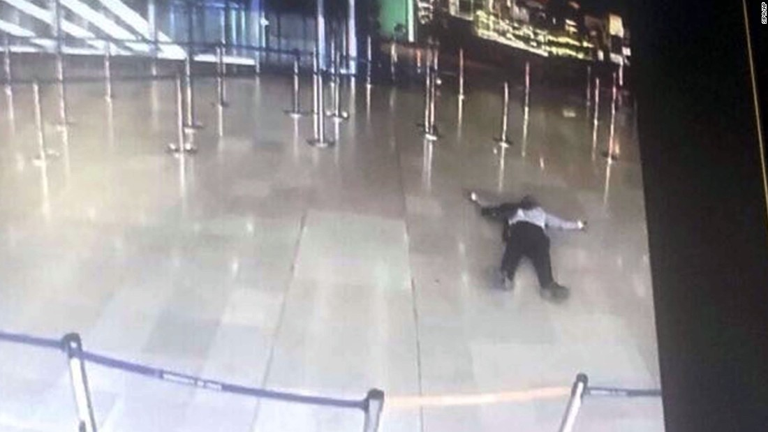 An image from the Orly Airport CCTV of the man who tried to take a soldier's gun and was shot and killed by security forces.