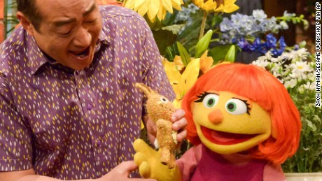 "This image released by Sesame Workshop shows Julia, a new autistic muppet character debuting on the 47th Season of ""Sesame Street,"" on April 10, 2017, on both PBS and HBO. (Zach Hyman/Sesame Workshop via AP)"