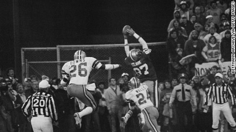 San Francisco 49ers Dwight Clark's iconic reception in 1982.