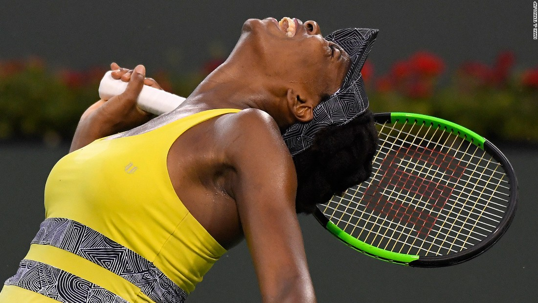 Venus Williams reacts after losing a point at the BNP Paribas Open on Thursday, March 16. Williams lost the quarterfinal match to Elena Vesnina, who would go on to win the tournament in Indian Wells, California.