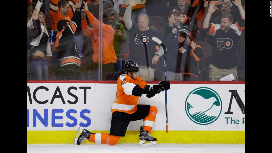 Philadelphia's Brayden Schenn celebrates after scoring in overtime to defeat Carolina on Sunday, March 19.