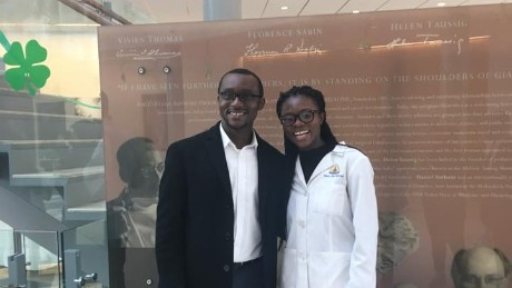 Nancy Abu-Bonsrah and her husband, Kwabena Yamoah, celebrate her match with Johns Hopkins Hospital for a neurosurgical residency.