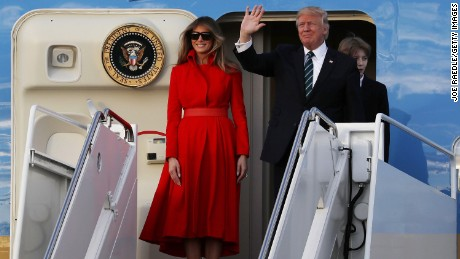 President Donald Trump, first lady Melania Trump and their son Barron arrive on Air Force One at the Palm Beach International Airport to spend part of the weekend at Mar-a-Lago resort on March 17, 2017 in West Palm Beach, Florida.