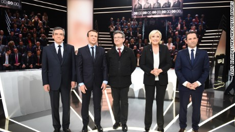 French presidential election candidates (left to right) Francois Fillon, Emmanuel Macron, Jean-Luc Melenchon, Marine Le Pen, Benoit Hamon.