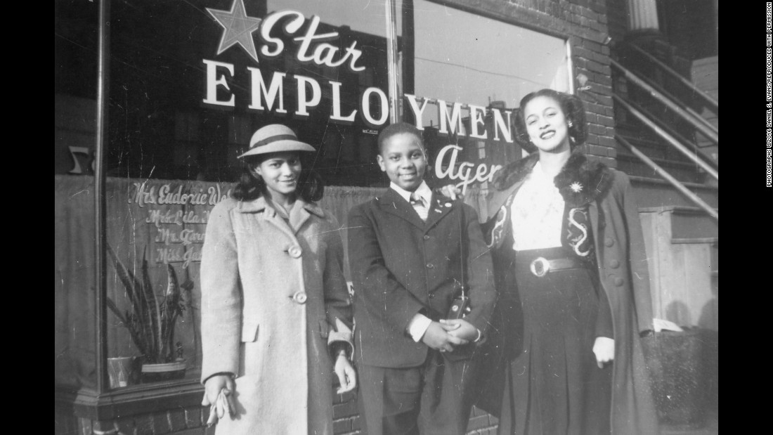 "People stand outside an employment agency in 1944. Evans said times were tough for many African-Americans in the city, but the new generation was filled with hope. ""They were in a position where their parents weren't,"" he said. ""Where they were able to get a good education and go to that Star Employment Agency and say: 'Hey, we're ready to work. We're ready to become part of society and contribute. We want to be taxpayers.' They were in positions where they can go to high school, they can go to college."""