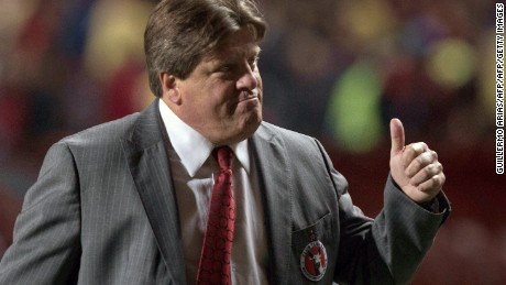 Miguel Herrera, head coach of Tijuana, reacts at the end of the first half against Monterrey during their Mexican Clausura 2017 Tournament football match at Caliente Stadium in Tijuana, February 24, 2017, northwestern Mexico. / AFP / GUILLERMO ARIAS        (Photo credit should read GUILLERMO ARIAS/AFP/Getty Images)