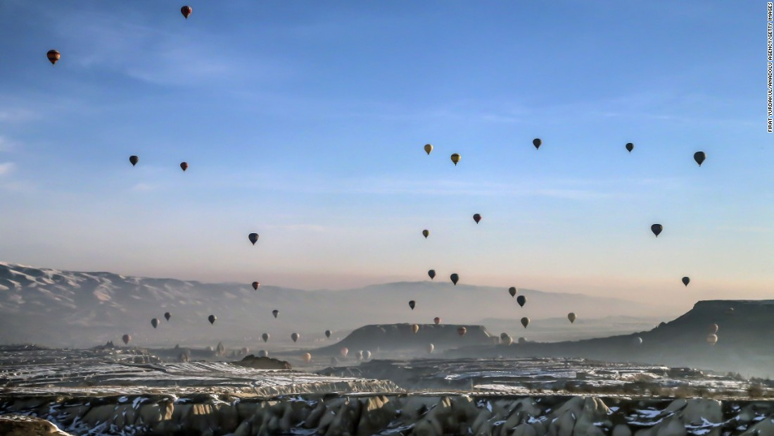 <strong>Cappadocia, Turkey:</strong> Hot-air ballooning is a popular tourist activity in Cappadocia, a UNESCO World Heritage Site in Central Anatolia. The area is characterized by a distinctive volcanic landscape and large network of ancient underground dwellings.