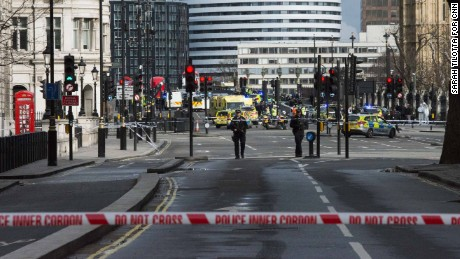 Police cordon off the site of the attack at Westminster Bridge.
