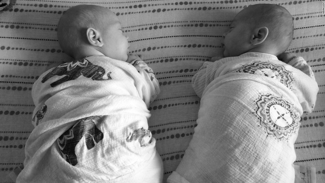 Finally home and first nap together.  May 22, 2015. (Abel, left. Eli, right.)