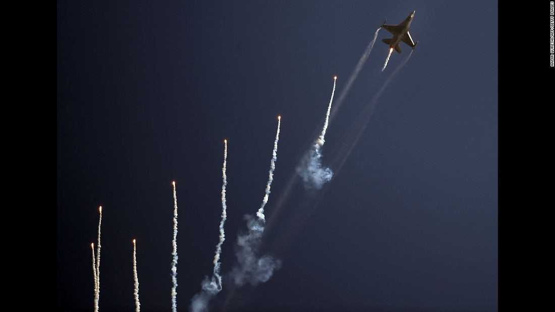 A Pakistani F-16 fighter jet takes part in a Pakistan Day military parade in Islamabad, Pakistan, on Thursday, March 23.