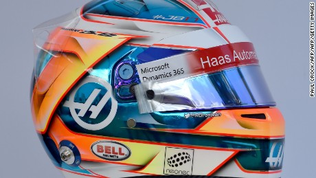 The helmet of Haas F1's French driver Romain Grosjean is displayed in Melbourne on March 23, 2017, ahead of the Formula One Australian Grand Prix. / AFP PHOTO / Paul Crock / -- IMAGE RESTRICTED TO EDITORIAL USE - STRICTLY NO COMMERCIAL USE --        (Photo credit should read PAUL CROCK/AFP/Getty Images)