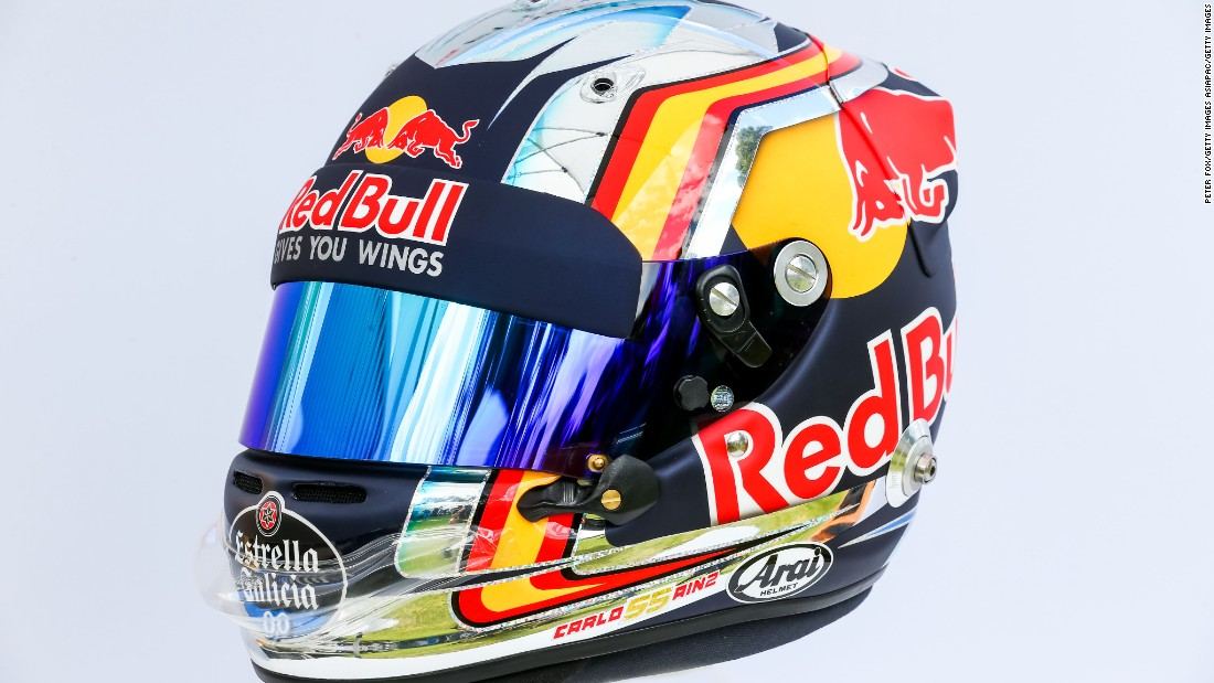 The Toro Rosso driver -- son of two-time rally world champion Carlos Sainz Cenamor -- gives a nod to Spain's flag with a streak of yellow and red on his armor.