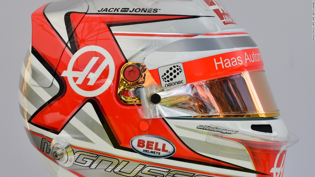 The Dane, swapping from Renault to Haas this season, will bring a retro touch to the grid with this eye-catching red and silver helmet.