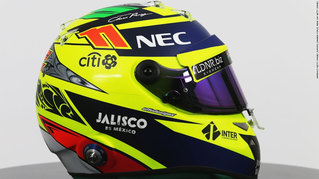 It'll be hard to miss Force India's Sergio Perez as he zips round the track in this arresting fluorescent number.