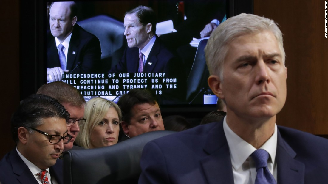 "Supreme Court nominee Neil Gorsuch listens to Sen. Richard Blumenthal deliver opening remarks on Capitol Hill on Monday, March 20, during Gorsuch's confirmation hearing before the Senate Judiciary Committee. Monday was the <a href=""http://www.cnn.com/2017/03/20/politics/neil-gorsuch-confirmation-hearing/index.html"" target=""_blank"">first day of four hearings</a> for Gorsuch, a federal appeals court judge from Colorado whom Trump has nominated to replace the late Justice Antonin Scalia."