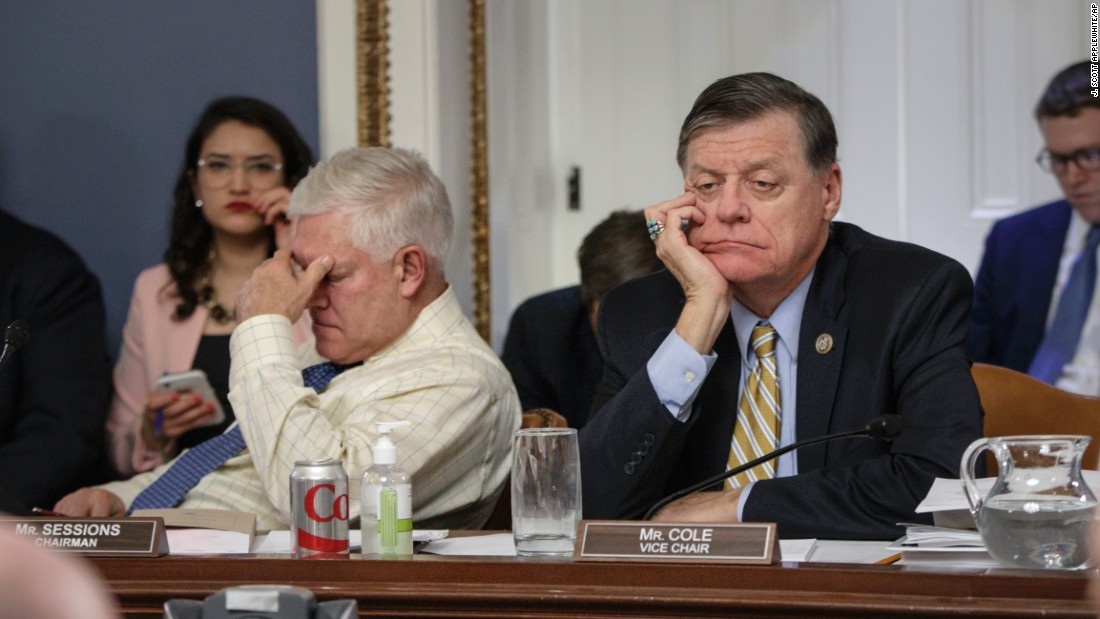 "After eight hours of debate on Capitol Hill, US Rep. and Chairman of the House Rules Committee Pete Sessions, left, and US Rep. Tom Cole, vice chair of the committee, listen to arguments from fellow committee members regarding the final version of the GOP health care bill on Wednesday, March 22. House GOP lawmakers have been working to repeal the Affordable Care Act. A vote on the new legislation was set to take place on Friday, but House Speaker Paul Ryan <a href=""http://www.cnn.com/2017/03/24/politics/house-health-care-vote/index.html"" target=""_blank"">pulled the health care bill from a floor vote</a> after being unable to secure enough support to pass it."