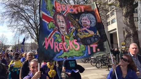 Protesters march Saturday in central London in opposition to the UK's departure from the EU.