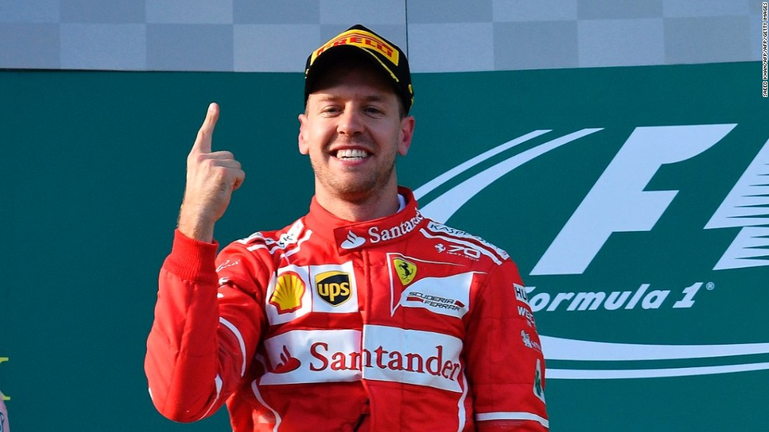 Sebastian Vettel of Ferrari celebrates winning the 2017 F1 Australian Grand Prix.