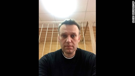 "Navalny posted this selfie from court with the words: ""The time will come when we will judge them."""