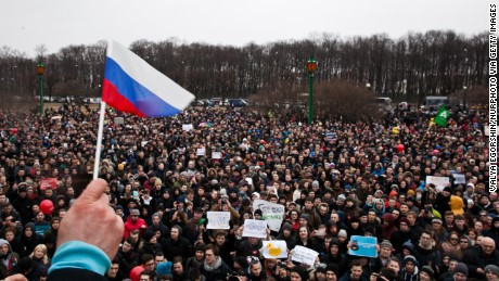 Opposition supporters participate in an anti-corruption rally in central Saint Petersburg on March 26.