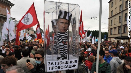 Opposition activists rally against Putin's third term in St. Petersburg on June 12, 2012.