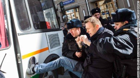 Navalny was arrested in Moscow during anti-corruption protests in March.