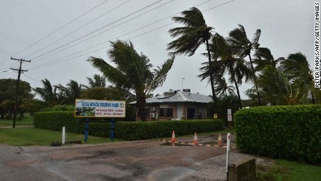 Palm trees blow in the wind in the town of Ayr in far north Queensland as Cyclone Debbie approaches on March 28, 2017.