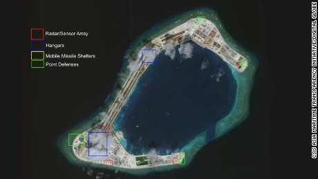 Subi Reef, taken on March 14, with new Chinese military infrastructure highlighted, courtesy of AMTI.