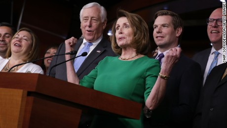 House Minority Leader Nancy Pelosi is joined by Rep. Linda Sanchez, House Minority Whip Steny Hoyer, Rep. Eric Swalwell, and Rep. Joe Crowley for a news conference in the House Vistiors Center in the U.S. Capitol March 24, 2017 in Washington, DC.