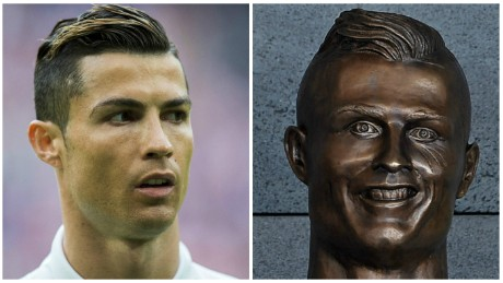 Ronaldo bust draws mirth at airport unveiling