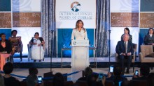 "Trump speaks Wednesday, March 29, at the Secretary of State's <a href=""http://www.cnn.com/2017/03/29/politics/melania-trump-speech-state-award/"" target=""_blank"">International Women of Courage Awards.</a> She called for women's empowerment and celebration of diversity."
