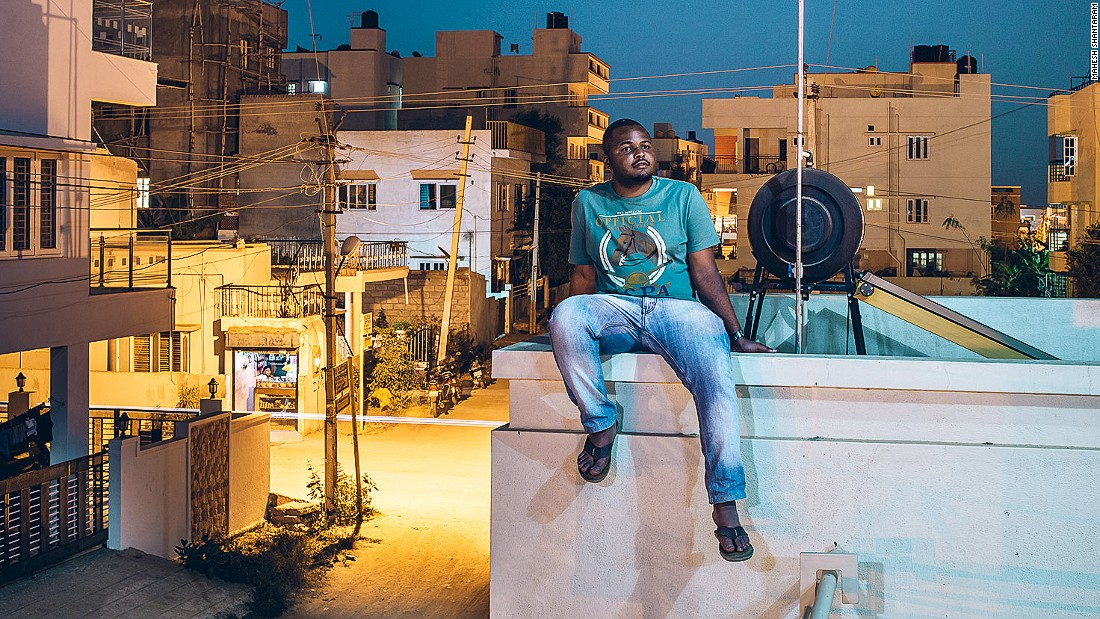 After a violent attack on a 21 year old student in Bangalore last year, photographer Mahesh Shantaram felt compelled to do something. <br />Pictured: Prosper from Tanzania in Bangalore <br /><br />Photo courtesy of: Mahesh Shantaram