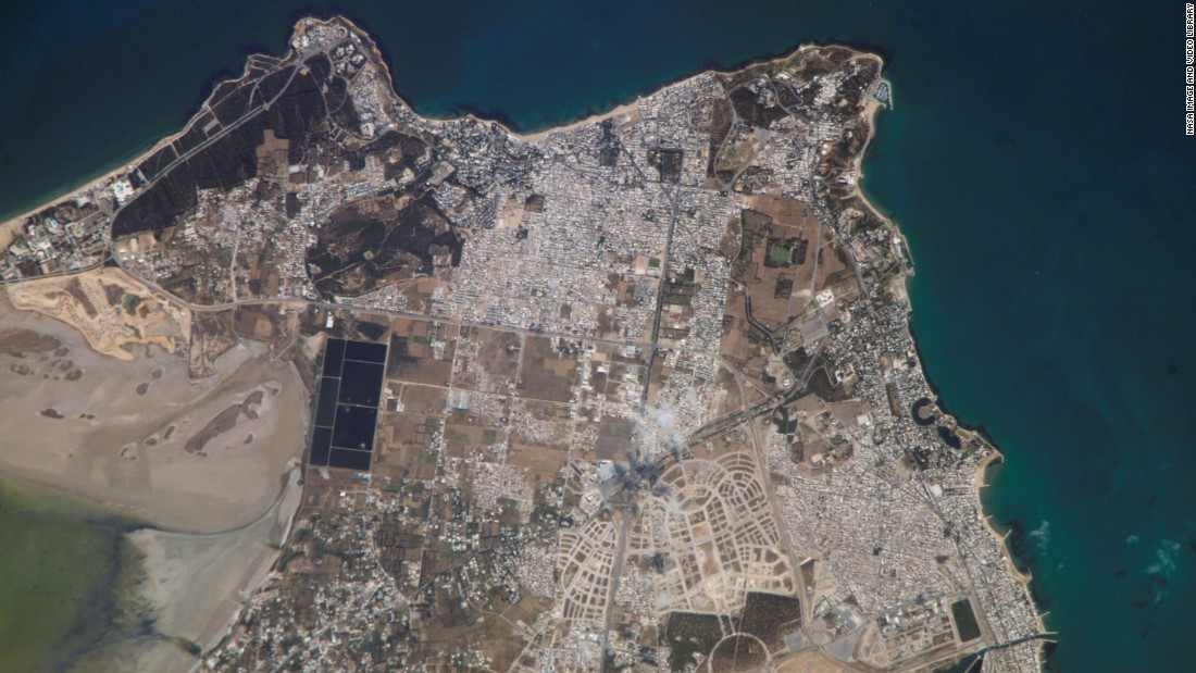 The ancient city of Carthage in Tunisia is pictured here, as photographed by a crew member on the International Space Station in 2006.