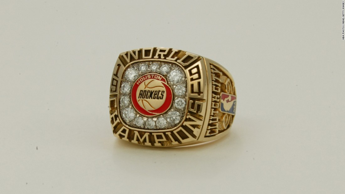 "The Houston Rockets' ring in 1994 featured the Rockets logo, 14 diamonds and the words ""Clutch City"" on the side. It was their first of back-to-back titles."