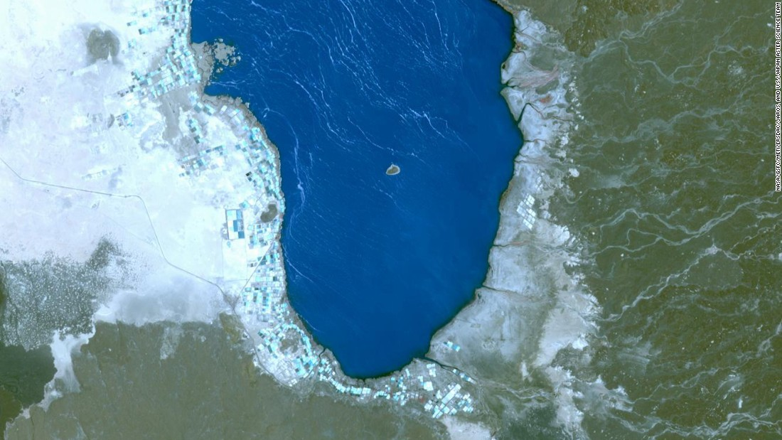 This hypersaline lake, called Lake Afrera, is in the Danakil Depression in northern Ethiopia, it can be seen in this image taken by the NASA Terra spacecraft in 2014.