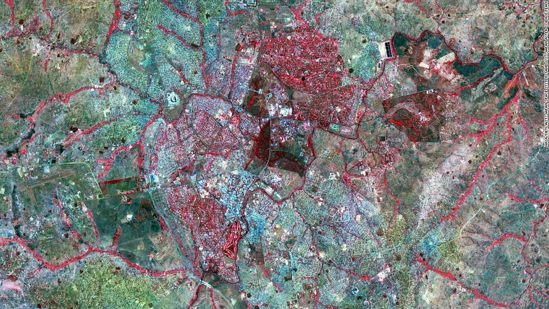 Lilongwe, the capital of Malawi is pictured in this Advanced Spaceborne Thermal Emission and Reflection Radiometer (ASTER)  image from 2016.