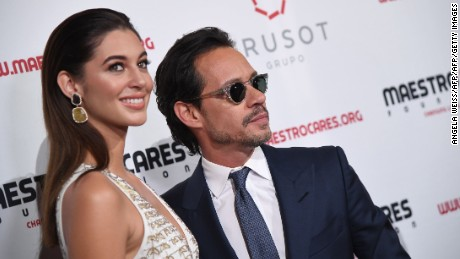 Mariana Downing and Marc Anthony attend the Maestro Cares Foundation's 4th annual 'Changing Lives/Building Dreams' gala at Cipriani Wall Street on March 21, 2017 in New York City. / AFP PHOTO / ANGELA WEISS        (Photo credit should read ANGELA WEISS/AFP/Getty Images)