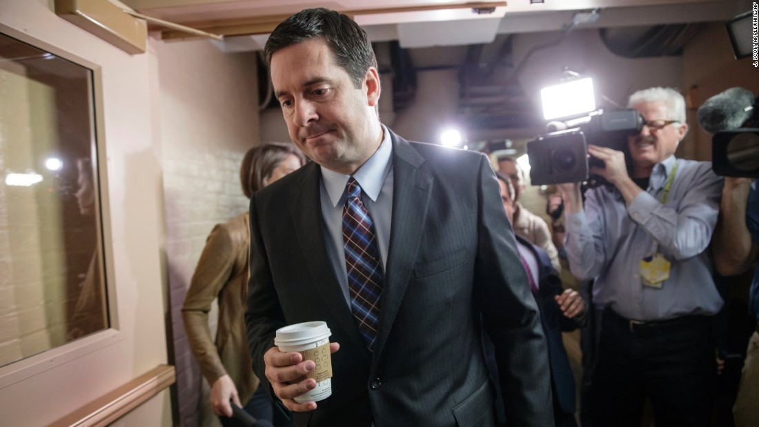 "US Rep. Devin Nunes, chairman of the House Intelligence Committee, is pursued by reporters as he arrives for a weekly meeting with GOP leaders on Tuesday, March 28. Nunes, an eight-term Republican from California, <a href=""http://www.cnn.com/2017/03/29/politics/who-is-devin-nunes/"" target=""_blank"">is leading the House probe of Russia's meddling in the US election</a> -- and whether there were any ties to the campaign of Donald Trump. But some key House Democrats -- including US Rep. Adam Schiff, the Intelligence Committee's top Democrat -- have called on Nunes to recuse himself from the investigation <a href=""http://www.cnn.com/2017/03/27/politics/devin-nunes-white-house-donald-trump/"" target=""_blank"">after a recent trip he made to the White House. </a>"