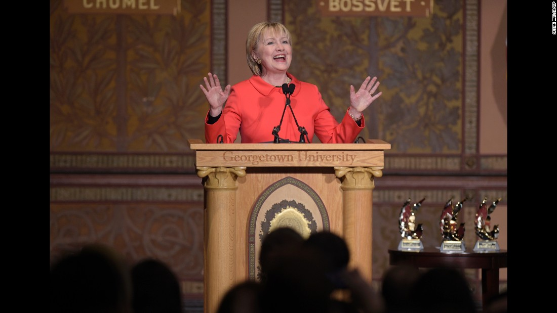 "Hillary Clinton speaks at Georgetown University in Washington on Friday, March 31. The former secretary of state <a href=""http://www.cnn.com/2017/03/31/politics/hillary-clinton-donald-trump-budget/"" target=""_blank"">was speaking</a> at an event honoring women who contributed to the recent peace process between the Colombian government and FARC rebels. She talked about the important role that women can play in international politics and peace-building efforts."