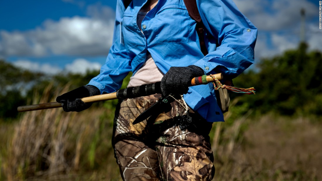 Along with a pistol and knife, Kalil carries a Venezuelan cowboy stick with her on the hunt.