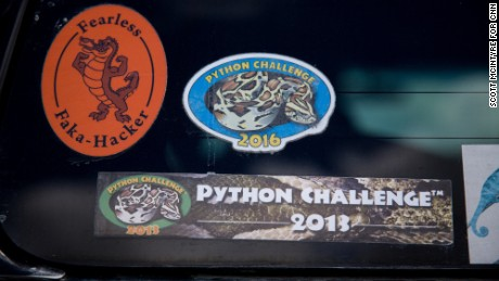 Stickers from previous python hunts adorn the back of Donna Kalil's SUV.