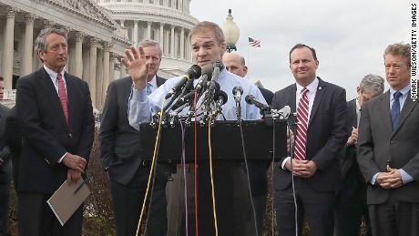 WASHINGTON, DC - MARCH 07:  Rep. Jim Jordan (R-OH) (C) speaks about Obamacare repeal and replacement while members of the House Freedom Caucus during a news conference on Capitol Hill, on March 7, 2017 in Washington, DC. The House of Representatives is currently working on a replacement for the Affordable Care Act.  (Photo by Mark Wilson/Getty Images)