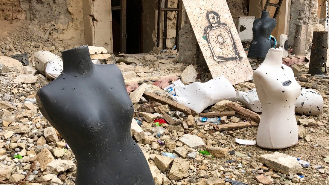 Mannequins and spray-painted human targets riddled with bullet holes fill the courtyard of the Church of the Immaculate Conception in Qaraqosh. During its occupation ISIS turned the church into a firing range and burned its Bibles.